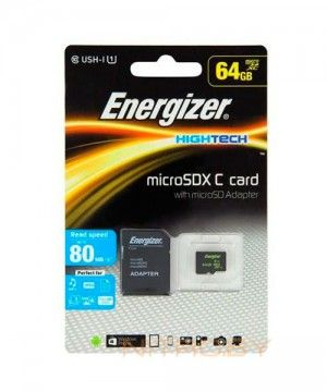 Карта памяти Energizer High Tech microSDXC 64 Гб 80mb/s