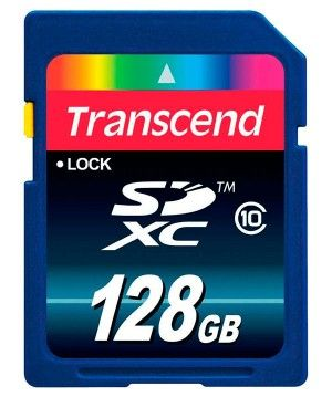 Карта памяти Transcend SD Card 128Gb, класс 10, SDHC