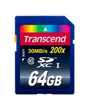 Карта памяти Transcend SD Card 64Gb, класс 10, SDHC