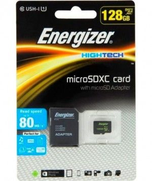 Карта памяти Energizer High Tech microSDXC 128 Гб 80mb/s