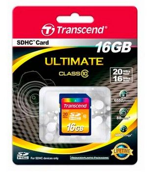 Карта памяти Transcend SD Card 16Gb, класс 10, SDHC